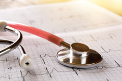 Image of heart and stethoscope. Medical concept.  royalty free stock images