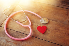 Image of heart and stethoscope. Medical concept.  royalty free stock photography