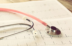 Image of heart and stethoscope. Medical concept.  stock photos