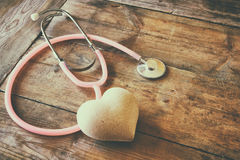 Image of heart and stethoscope. Medical concept Stock Photography