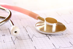 Image of heart and stethoscope. Medical concept Stock Images