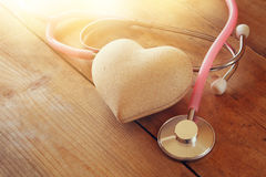 Image of heart and stethoscope. Medical concept.  stock photography