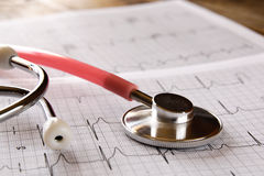 Image of heart and stethoscope. Medical concept.  royalty free stock photo