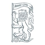 Image of the heraldic lion with flag Royalty Free Stock Image