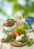 Image of  herbs, vegetables and utensils Royalty Free Stock Photography