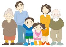 Image heureuse de familles - parents, enfants et grand-parent illustration stock