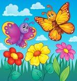Image heureuse 7 de thème de papillons Photos libres de droits