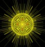 Image heureuse du soleil de fractale d'imagination abstraite de jaune Photographie stock libre de droits