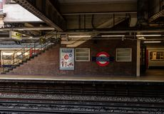 Image of the High Street Kensington train station in London stock photos