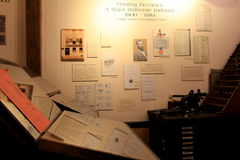 Image of historic documents and equipment covering timeline of printing, Museum of Industry, Baltimore, Maryland, 2017. One of many exhibits, this one covering royalty free stock photo