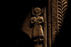 Ancient sculpture carving on the wall royalty free stock photography