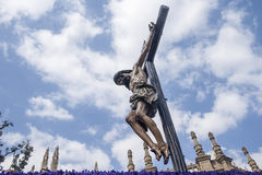 Image of the Holy Week in Seville. Jesus' death on the cross, Holy Week in Seville, brotherhood of students Royalty Free Stock Photography