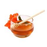 Image of honey glass jar. rosh hashanah (jewish holiday) concept. traditional holiday symbols. isolated on white Royalty Free Stock Image