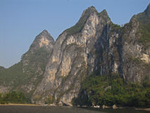 Image of horse on rock. Image of a horse on rock outcropping on the Li River in China Stock Image