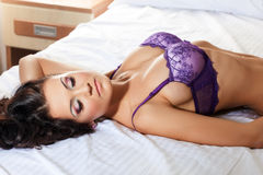 Image of hot brunette in purple lingerie Royalty Free Stock Photos