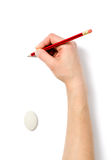 Image of human hand with pencil and eraser Royalty Free Stock Photography