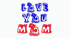 THIS IS THE IMAGE OF I LOVE YOU MOM QUOTE stock illustration
