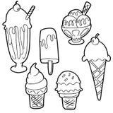Ice Cream Cartoon Set Black and White. An image of a Ice Cream Cartoon Set Black and White stock illustration