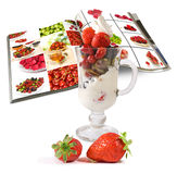 Image of Ice cream with fruit and magazine closeup Royalty Free Stock Photo