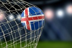 Austrian soccerball in net. Image of Icelandic soccerball in net Royalty Free Stock Photos