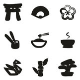 Japanese Culture Icons Freehand Fill. This image is a illustration and can be scaled to any size without loss of resolution Royalty Free Stock Image