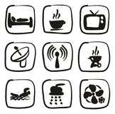 Motel Or Hotel Icons Freehand Fill. This image is a illustration and can be scaled to any size without loss of resolution Royalty Free Stock Photo