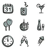 New Years Eve Icons Freehand 2 Color. This image is a illustration and can be scaled to any size without loss of resolution royalty free illustration