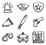 Police Icons Freehand. This image is a illustration and can be scaled to any size without loss of resolution Royalty Free Stock Photo