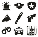 Police Icons Freehand Fill. This image is a illustration and can be scaled to any size without loss of resolution Stock Photo
