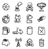 Pollution Icons Freehand. This image is a illustration and can be scaled to any size without loss of resolution Royalty Free Stock Photos