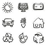 Solar Energy Icons Freehand. This image is a illustration and can be scaled to any size without loss of resolution Royalty Free Stock Photography