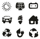 Solar Energy Icons Freehand Fill. This image is a illustration and can be scaled to any size without loss of resolution Royalty Free Stock Photo