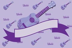Ukulele purple background royalty free stock image
