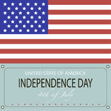Image for Independence Day. Image of the American flag and the phrases Independence Day,4th of July and United States of America on the blue background Stock Images