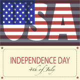 Image for Independence Day in USA. Image of the American flag and the phrases Independence Day,4th of July and United States of America on the yellow background Stock Photo