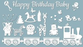 The image with the inscription-Happy birthday baby. Template with vector illustration of toys. Animals on the train. For laser cut royalty free illustration
