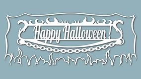 The image with the inscription - Happy halloween. Template with vector illustration. For laser cutting, plotter and silkscreen pri stock illustration