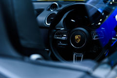 Image inside of Porsche 718 Cayman car. Royalty Free Stock Photo