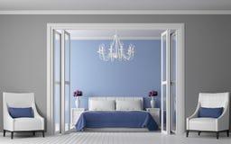 Image intérieure du rendu 3d de chambre à coucher moderne de vintage Images libres de droits