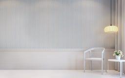 Image intérieure du rendu 3d de salon blanc moderne Images libres de droits