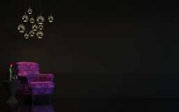 Image intérieure du rendu 3d de salon noir de luxe moderne Photos libres de droits