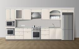 Image intérieure réaliste blanche de cuisine de luxe illustration de vecteur
