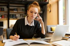 Image of intelligent girl studying, while sitting at desk in col royalty free stock images