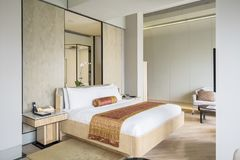 Luxury bedroom in the hotel Royalty Free Stock Photo