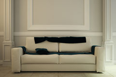 Image of the interior made in antique style with a sofa inside. 3d illustration Stock Photos