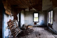 Abandoned House Interior. An image of the interior of an old abandoned and creepy house stock photography