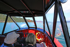Image of the interior of small motor boat Royalty Free Stock Image