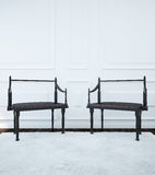 Image of the interior with two chairs in the Gothic style. 3d illustration Stock Photography