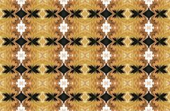 EARTHY YELLOW AND BROWN SHADES ON WALLPAPER DESIGN. Image of an intricate repeat pattern in ochre yellow, brown, black and white Royalty Free Stock Photography