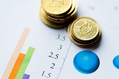 Image of investment, chart and coin Stock Photo